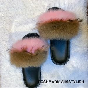 🆕 Genuine Fox Fur Beach Slides Slippers Sandals